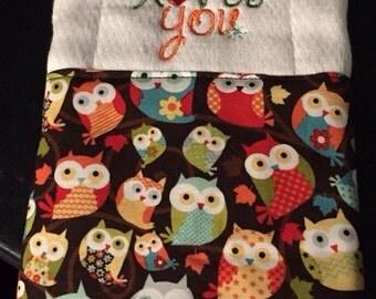 Owl burp cloth, Burp Cloth, Burp rag, Owls, Baby girl burp cloth, Girl burp cloth, Embroidered burp cloth, Hoo loves you
