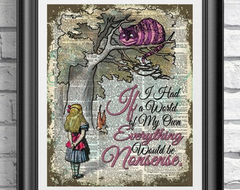 Dictionary book page print Alice in Wonderland and pink Purple Cheshire cat. Art print on old book page published in 1889 Wall decor.