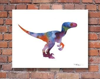 Velociraptor Art Print - Abstract Raptor Dinosaur Watercolor Painting - Wall Decor