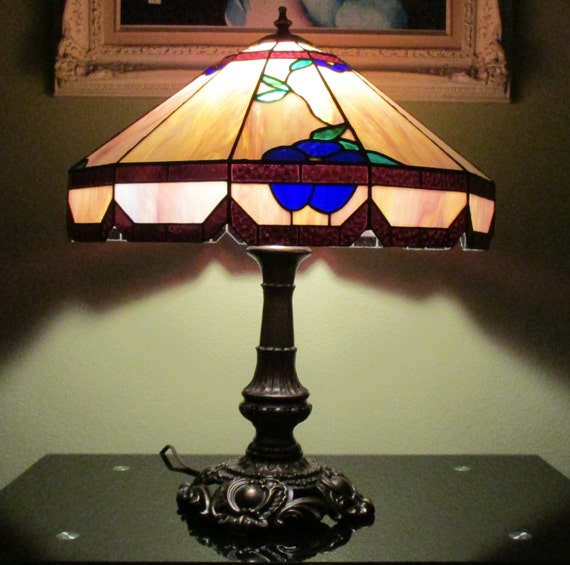 tiffany style stained glass hanging lamp 20 purple amber w blue. Black Bedroom Furniture Sets. Home Design Ideas