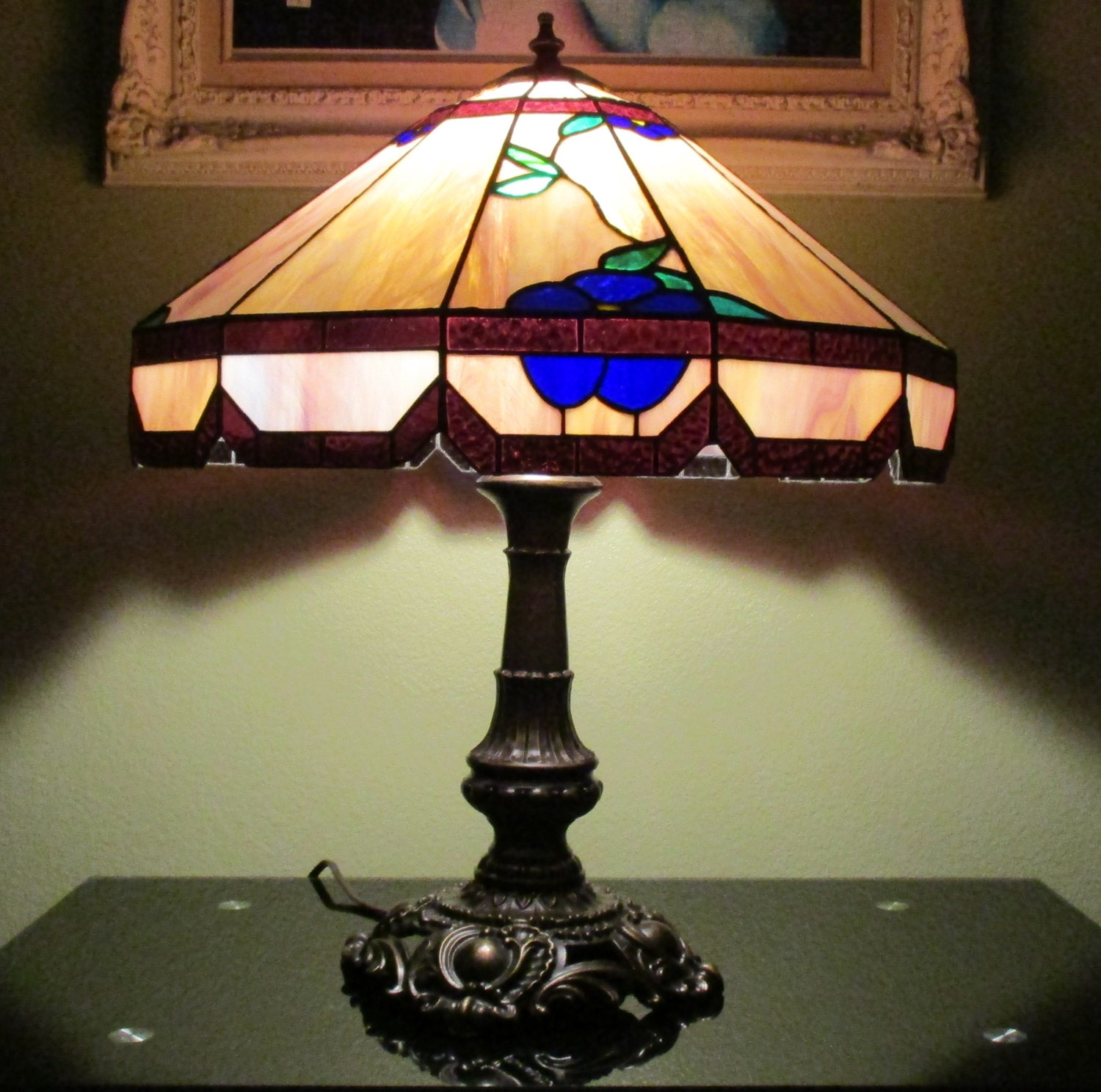 tiffany style stained glass hanging lamp 20 purple amber. Black Bedroom Furniture Sets. Home Design Ideas
