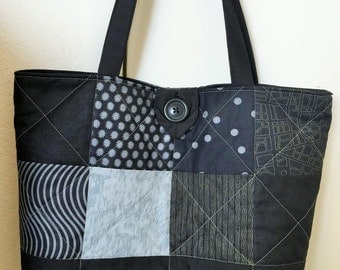 Quilted Tote Bag in Shades of Black and Gray