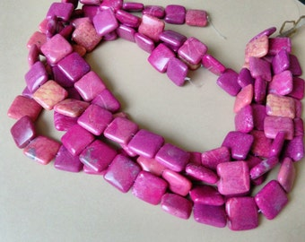 Square Magenta Jasper Beads, Jewelry Supplies Destash, Dark Pink Jasper, Gemstone Beads, 16mm x 16mm Beads, Full 16 Inch Strand