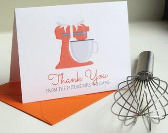 Custom Color Kitchen Aid Bridal Shower, Newlywed, or Wedding Thank You Card Set