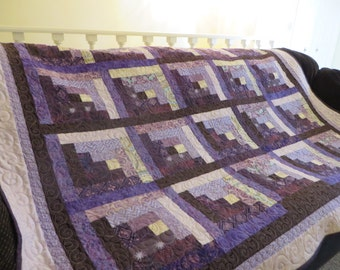 Lovely Purple, Lavender and Cream Log Cabin Quilt, Featuring Gorgeous Kaffe Fassett and Batik Fabrics