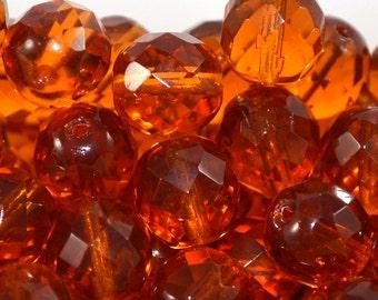 Czech firepolished / faceted glass beads 12mm Dark Topaz (6)