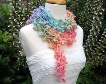 Hand crochet pastel rainbow lightweight scarf, superwash wool crochet scarf, boho variegated pale rainbow color scarf, rainbow pride scarf