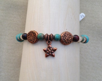 Turquoise and Copper Flower Bracelet