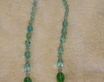 Sparkling Pale Aqua and Green Crystal Necklace West Germany