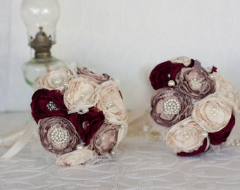 Vintage Inspired Brooch Wedding Bouquet, set of two Cream, Dusty Pink and Burgundy satin, chiffon and Lace Bridesmaids Bouquets