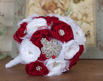 Fabric Flower and Brooch Wedding Bouquet, White and Red Satin and Lace Bridal Bouquet