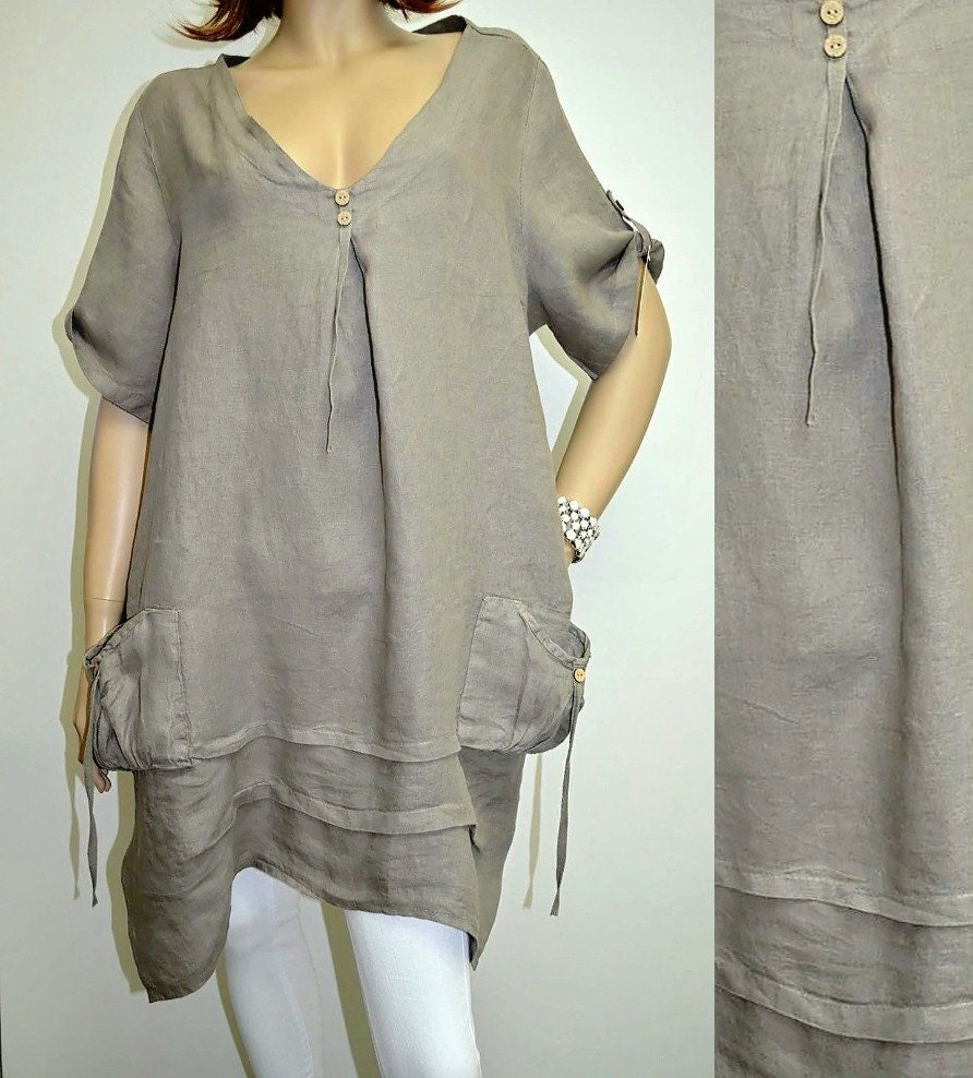 Xxl italie boutique lin lagenlook tunique robe poches grande - Teindre un vetement en blanc ...