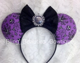 Disney Inspired Haunted Mansion Ears Minnie Mouse Ears Headband Wallpaper Print
