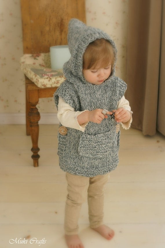 KNITTING PATTERN chunky hooded poncho Phoebe (toddler, child, adult woman siz...