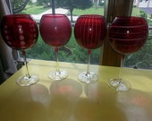 Vintage Etched to Clear Red Cranberry Glass Set of FOUR Large Goblets