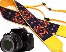 InTePro Native American (inspired) Camera strap.  Southwestern Ethnic Camera strap.  DSLR / SLR Camera Strap. Camera accessories.