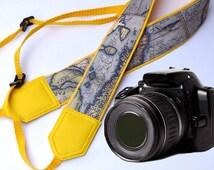 Vintage camera strap. Holy Land camera strap. Yellow DSLR / SLR Camera Strap. Photographer gift by InTePro