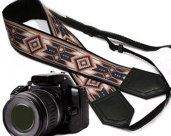 Camera strap inspired by Native American.  Southwestern Ethnic Camera strap.  Brown DSLR / SLR Camera Strap. Camera accessories by InTePro