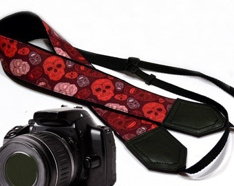 Sugar skulls camera strap. Halloween camera strap. Red DSLR / SLR Camera Strap. Camera accessories by InTePro