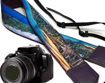 InTePro Ocean Camera Strap. Beach camera strap. Camera accessories. DSLR/ SLR Camera Strap.  Photographer gift.