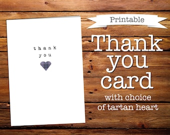 Thank you card with choice of tartan heart (Printable)