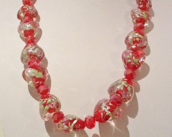 Necklace 54cm Features Large High Quality Lampwork Glass hearts. Red/clear Pink flower and leaf patterns. Crystal Faceted spacers