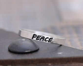 925 sterling silver personalized peace band ring, wedding ring, bridemaid gift, holiday gift, customized band ring (WPR_00011)