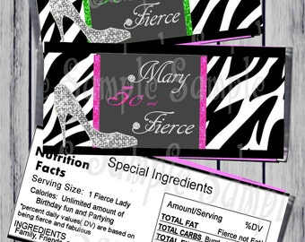 Printable 50th Birthday Party Candy Bar Wrapper/high heel