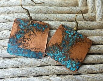 "Copper Patina Earrings--1""x1"" Hand Cut Copper Square Earrings, Blue Patina Earrings, Copper Earrings"
