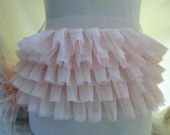 Light Pink Lace, TuTu Dress Fabric, Ruffled Fabric Lace Trim, Light Pink Ruffled Lace Trim