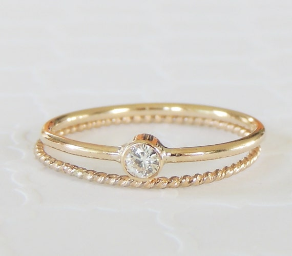 stackable rings 14k gold rings moissanite rings by luxuring