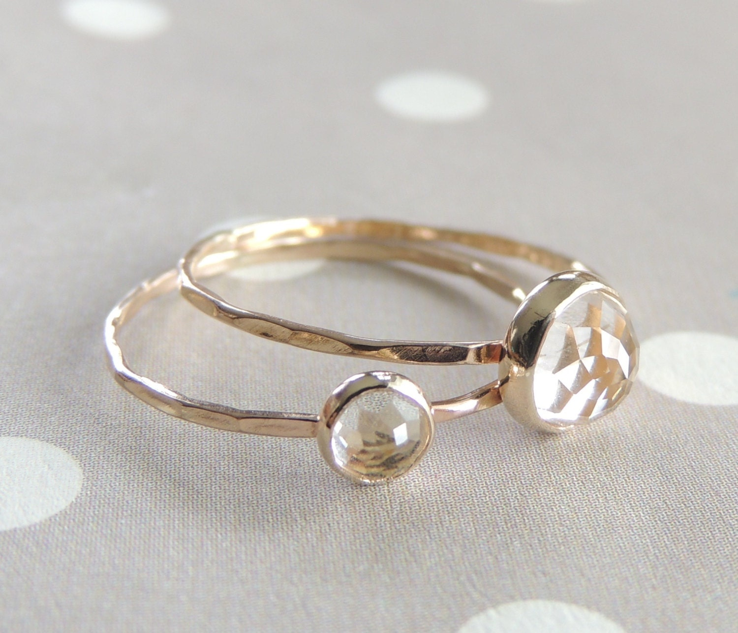 ring set white topaz ring best friend gift 14k gold by