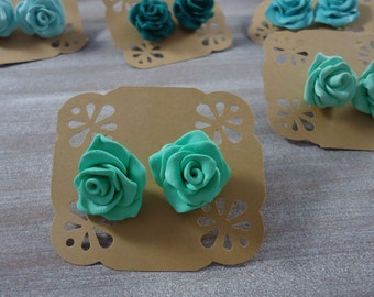 Gift for bridesmaids, wedding favors,Roses studs earrings, Polymer clay roses earrings handmade, green roses.