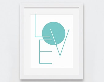 Love Wall Art, Love Typographic Print, Turquoise Art Prints, Geometric Wall Prints, Minimalist Typography Wall Art, Modern Nursery