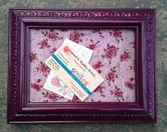 Small Plum Purple Floral Rectangular Upcycled Cork Board