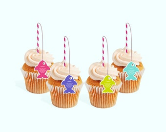 INSTANT DOWNLOAD Fishing Party cupcake toppers