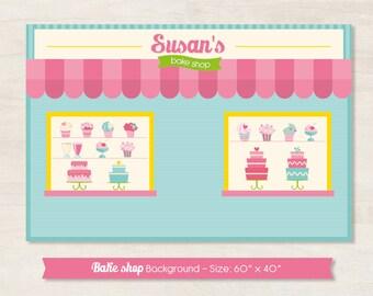 Bake Shop dessert table backdrop (digital file)