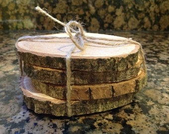 Wood Slice Coasters x 4  Ideal for Wedding tables