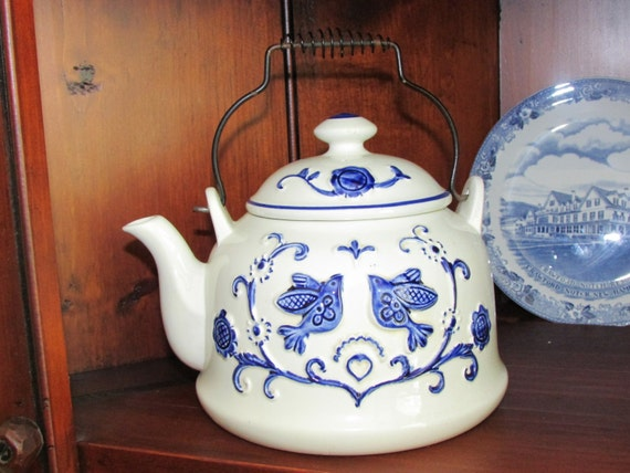 Vintage Rubens Originals Tea Pot Blue And White Teakettle