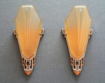 Antique pair of  Art deco Markel slip shade sconces  from 1920's