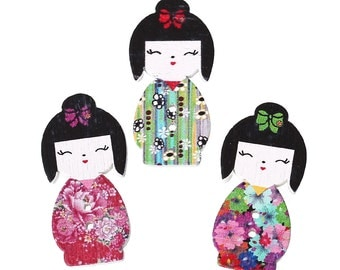 Wooden Japanese Girl Buttons, Assorted Colours, 3cm x 15mm Perfect for Sewing, knitting, Crochet, Crafts, Buttons Art, Scrapbook,