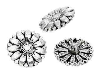 Metal Sunflower Buttons. Silver Tone. 18mm. Nickel Free. Ideal for Sewing Knitting Scrapbook and other craft projects