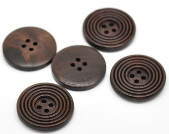 Dark Wood Ridged Circles Design Wooden Buttons 30mm.  Sewing Knitting Scrapbook and other craft projects