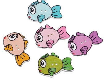 10 Wooden Bubble Fish Design Sewing Buttons. 3.4cm x 25.0mm. Ideal for Sewing, Scrapbook and Crafts