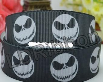 """7/8"""" Skeleton Head Grosgrain Ribbon"""