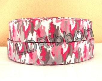 "7/8"" Pink Camo Grosgrain Ribbon"