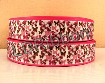 "1"" Pink Camo Butterfly Grosgrain Ribbon"
