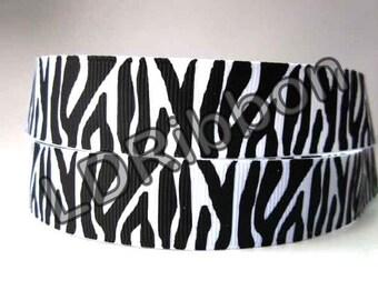 "7/8"" Zebra Print Grosgrain Ribbon"