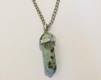 Green Lotus Jasper Pendant Necklace
