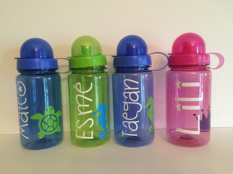 Plastic water bottle personalized kids water by kissmasonjars for Unique plastic bottles